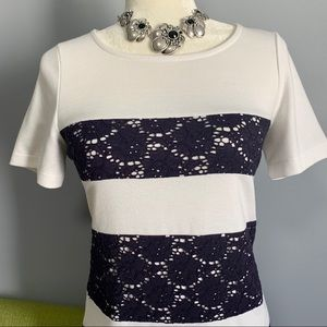 Blue East Dresses - Blue East Lace Striped Short Sleeve Shift Dress C4